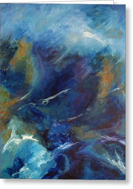 Turbulent Blue Skies Paintings Greeting Cards - Tempest-sold Greeting Card by Lou Cicardo