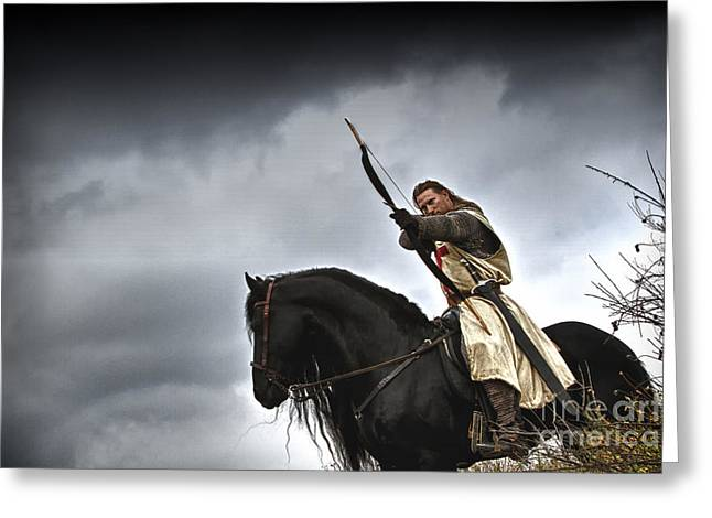 Horses In Print Greeting Cards - Templar Knight Friesian I Greeting Card by Holly Martin