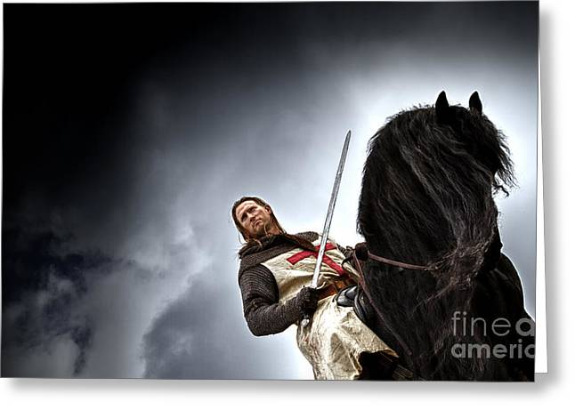 Fantasy Greeting Cards - Templar Knight Friesian II Greeting Card by Holly Martin