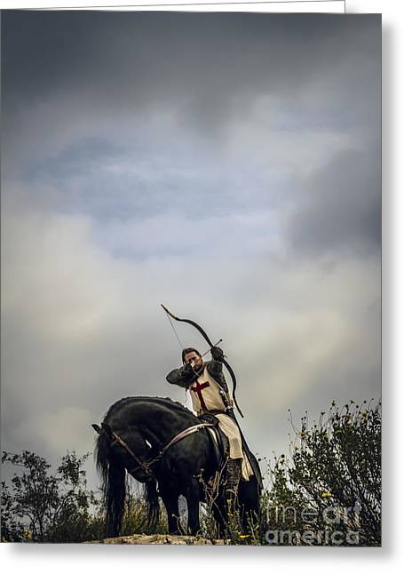 Fantasy Greeting Cards - Templar Knight Friesian III Greeting Card by Holly Martin
