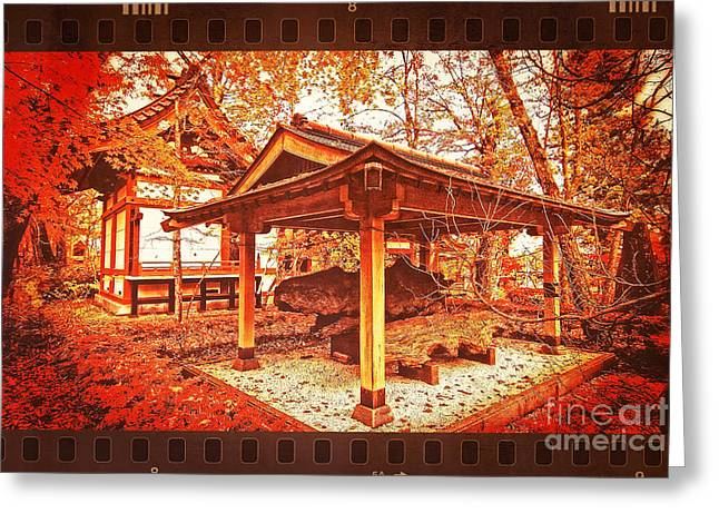 Temple Among Vivid Autumn Leaves Greeting Card by Beverly Claire Kaiya