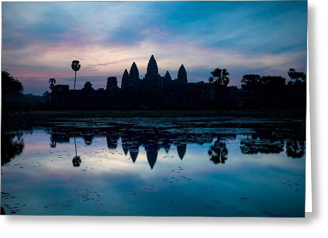 International Photography Greeting Cards - Temple At The Lakeside, Angkor Wat Greeting Card by Panoramic Images
