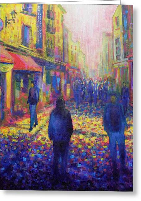 Night Scene Prints Greeting Cards - Temple Bar Dublin Greeting Card by John  Nolan