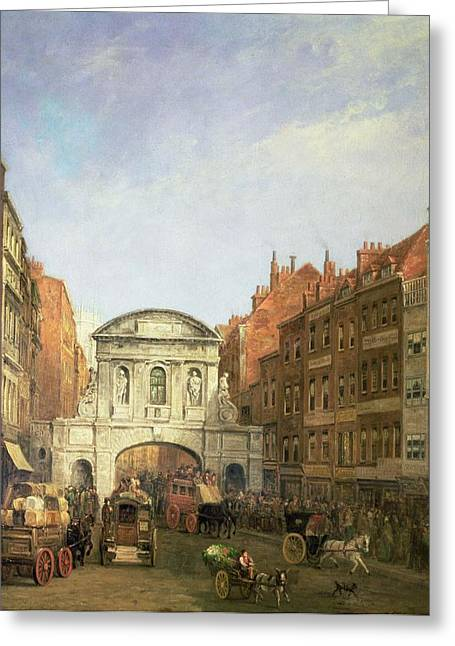 Arch Greeting Cards - Temple Bar From The Strand, 1873 Oil On Canvas Greeting Card by William Haines