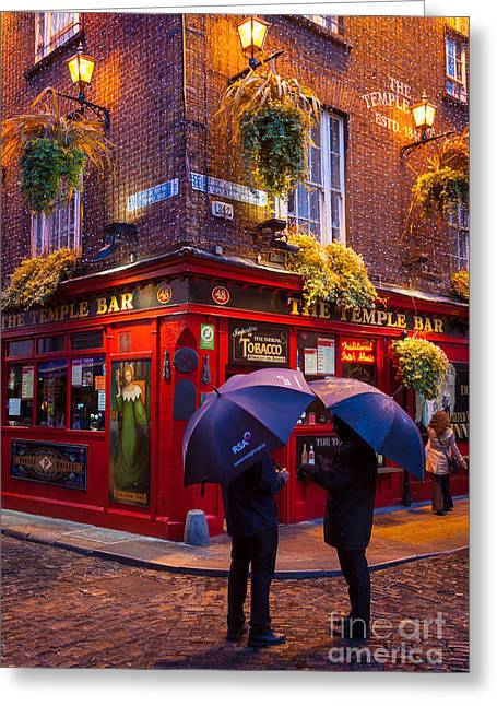 Cobblestone Greeting Cards - Temple Bar Greeting Card by Inge Johnsson