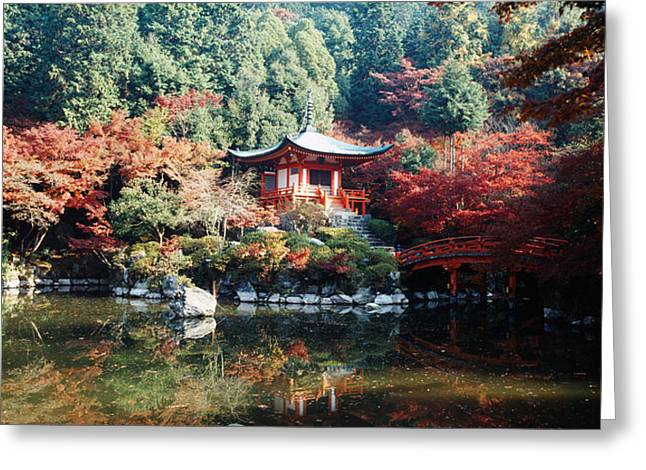 Kyoto Prefecture Greeting Cards - Temple Behind A Pond, Daigo-ji Temple Greeting Card by Panoramic Images