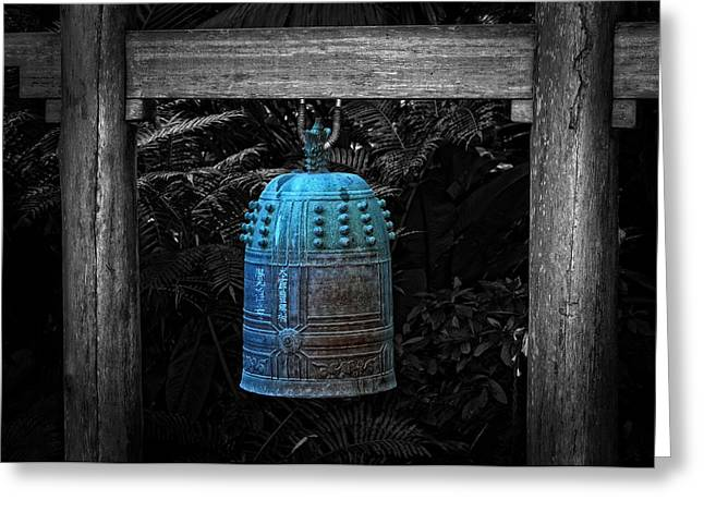 Temple Bell - Buddhist Photography By William Patrick And Sharon Cummings  Greeting Card by Sharon Cummings