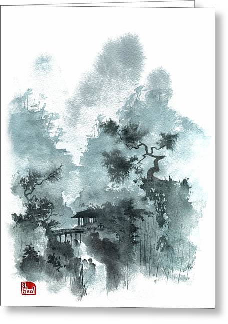 Chinese Landscape Greeting Cards - Temple Bridge Greeting Card by Sean Seal
