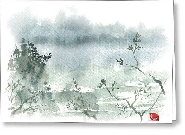 Chinese Landscape Greeting Cards - Temple By The Lake Greeting Card by Sean Seal