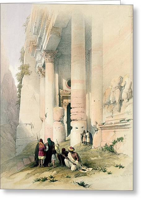 Jordanian Greeting Cards - Temple called El Khasne Greeting Card by David Roberts
