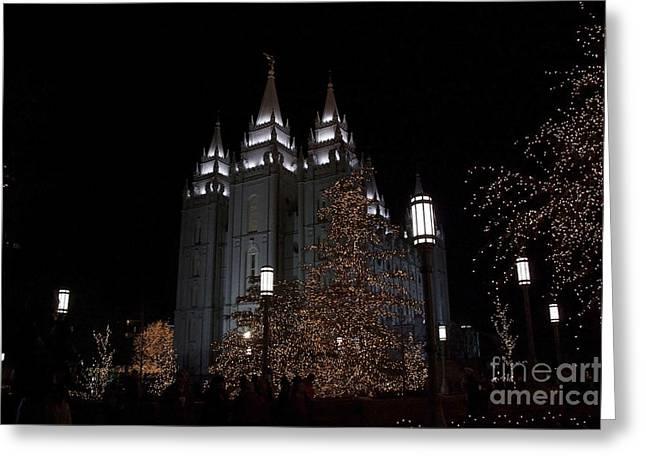 Salt Lake City Temple Digital Art Greeting Cards - Temple Christmas Lights Greeting Card by Nicole Markmann Nelson