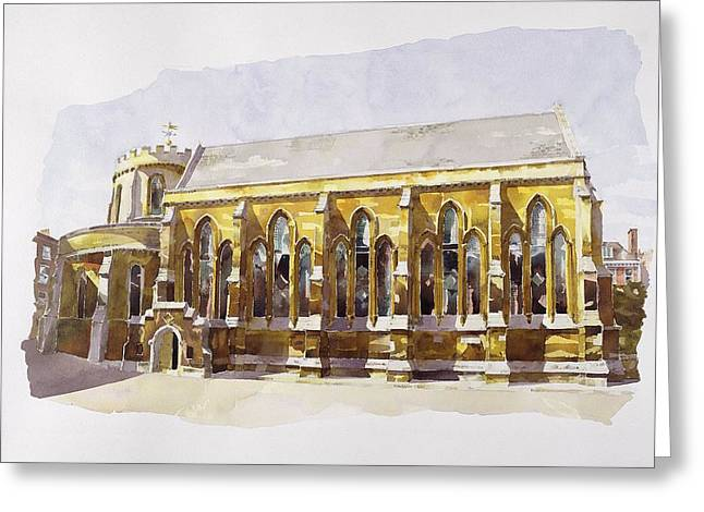 Knighting Drawings Greeting Cards - Temple Church Greeting Card by Annabel Wilson