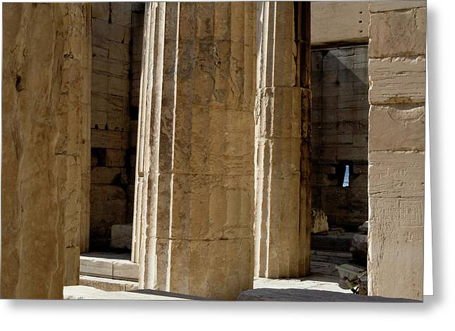 Nike Greeting Cards - Temple Columns with Window Peek Greeting Card by Lorraine Devon Wilke