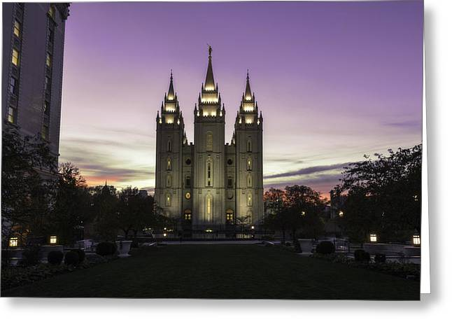 Salt Lake City - Utah Greeting Cards - Temple Courtyard Greeting Card by Chad Dutson
