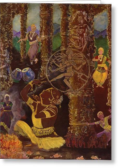 Temple Dance Greeting Card by Alika Kumar