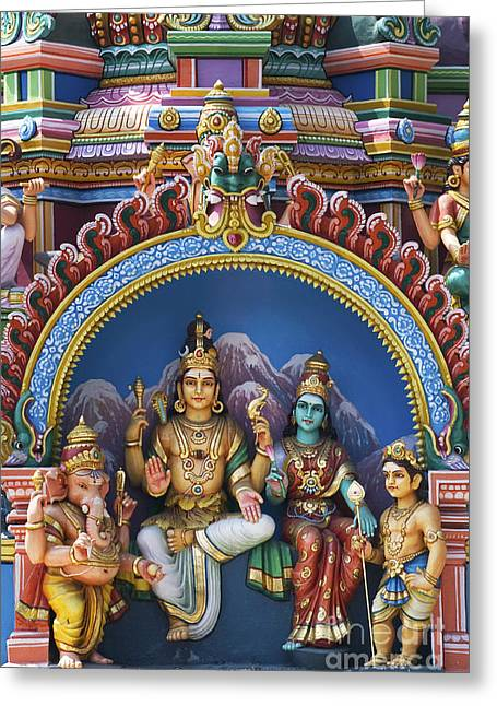 Hindu Goddess Photographs Greeting Cards - Temple Deity Statues India Greeting Card by Tim Gainey