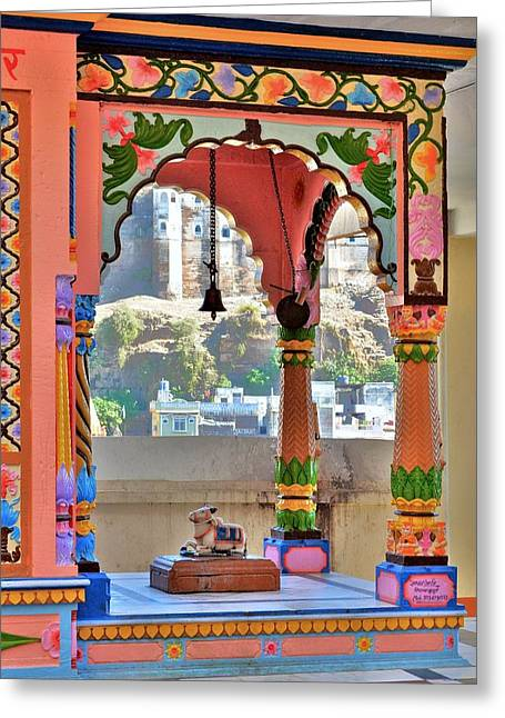 Sacred Bull Greeting Cards - Colorful Temple Entrance - Omkareshwar India Greeting Card by Kim Bemis