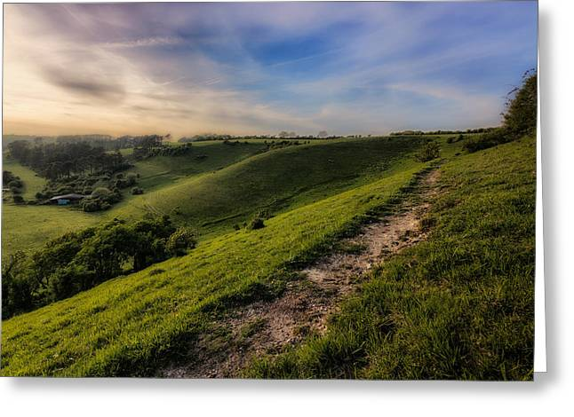 Temple Ewell And The Downs Greeting Card by Ian Hufton