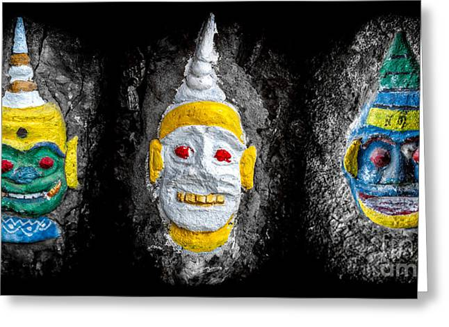 Religious Digital Art Greeting Cards - Temple Faces Greeting Card by Adrian Evans