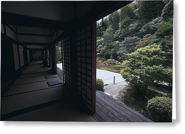 Kyoto Greeting Cards - Temple Garden Viewing - Kyoto Greeting Card by Daniel Hagerman