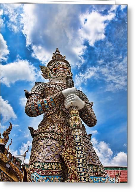 Asien Greeting Cards - Temple Guardian Greeting Card by Joerg Lingnau