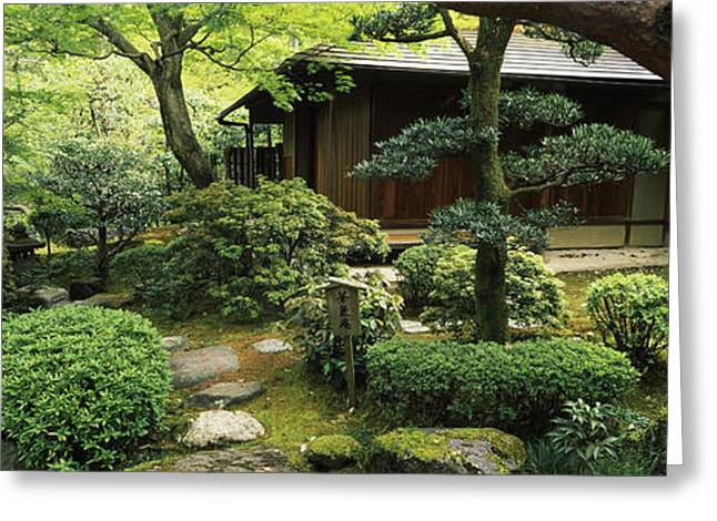 Honshu Greeting Cards - Temple In A Garden, Yuzen-en Garden Greeting Card by Panoramic Images