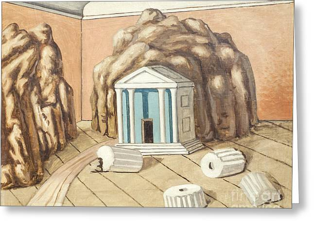 Chirico Greeting Cards - Temple in a room by Giorgio de Chiri Greeting Card by Roberto Morgenthaler