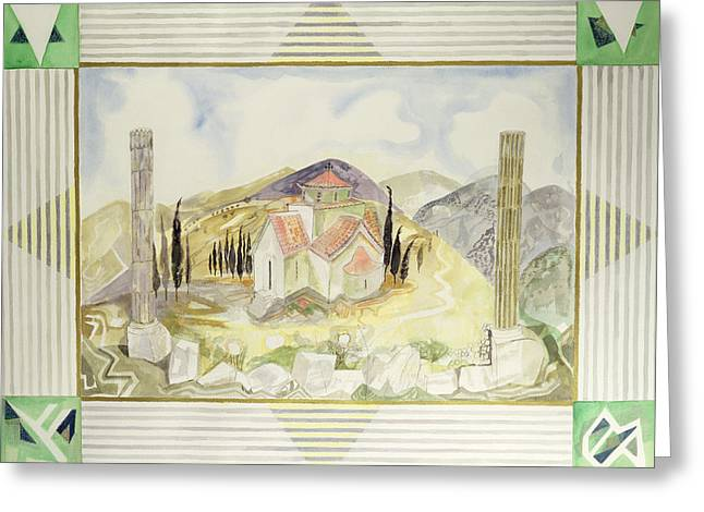 Flutes Greeting Cards - Temple In Hosios Lukas Country From The Greek Experience Series, 1989 Wc Greeting Card by Michael Chase