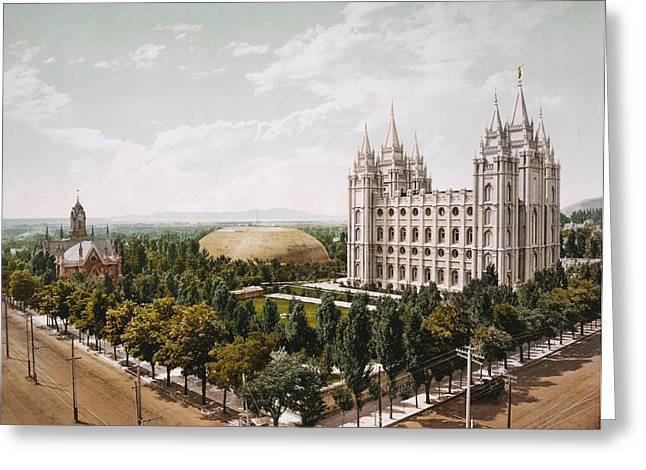 Salt Lake City Temple Greeting Cards - Temple in Salt Lake City in 1899 Greeting Card by Mountain Dreams