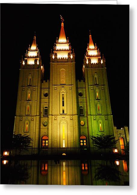 Salt Lake City Temple Greeting Cards - Temple In Salt Lake City Greeting Card by Jeff  Swan