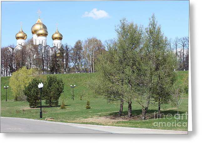 Historical Images Greeting Cards - Temple in spring Greeting Card by Evgeny Pisarev