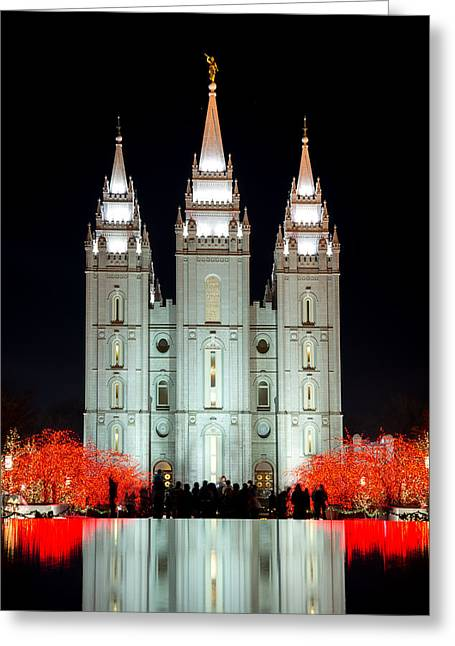 Utah Temples Greeting Cards - Temple Lights Greeting Card by Dustin  LeFevre