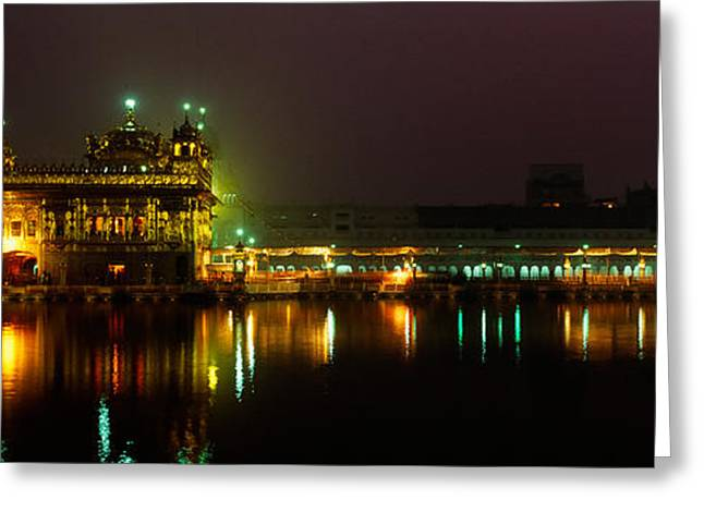 Temple Lit Up At Night, Golden Temple Greeting Card by Panoramic Images