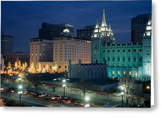Salt Lake City Temple Photography Greeting Cards - Temple Lit Up At Night, Mormon Temple Greeting Card by Panoramic Images
