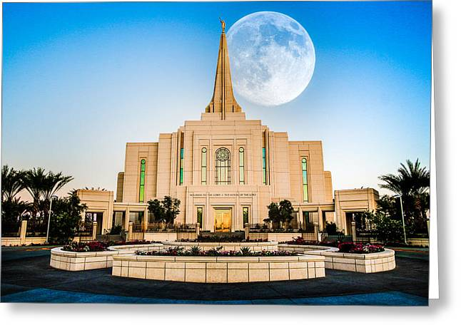 Harvest Moon Greeting Cards - Temple Moon Greeting Card by Jon Manjeot