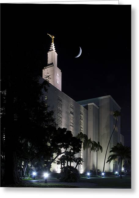 Night Angel Greeting Cards - Temple Moon Greeting Card by Kevin  Ellis