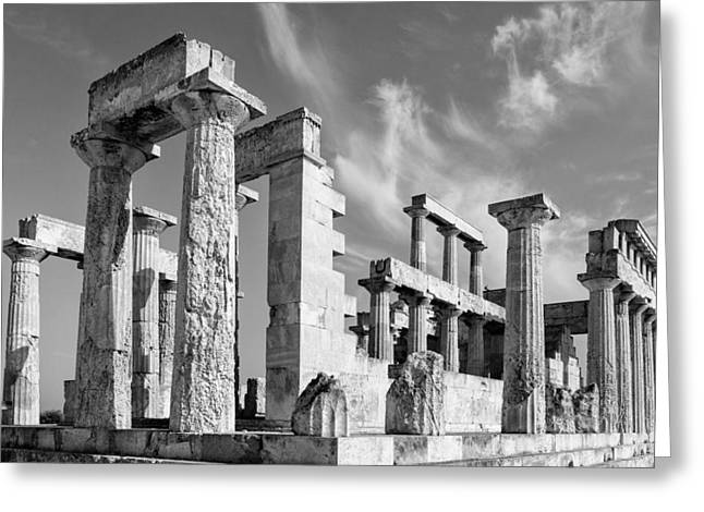 Greek Temple Greeting Cards - Temple of Aphaea on Aegina in Greece Greeting Card by Paul Cowan