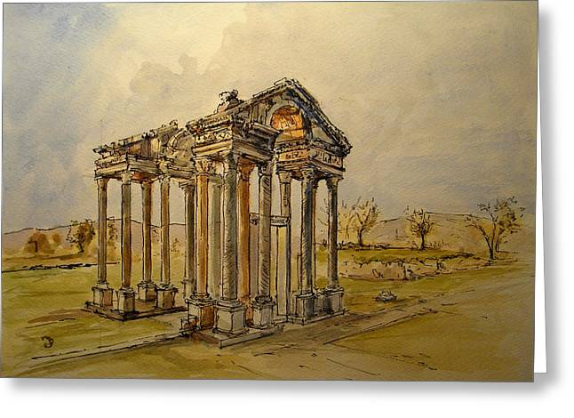 Greek Ruins Greeting Cards - Temple of Aphrodite Greeting Card by Juan  Bosco