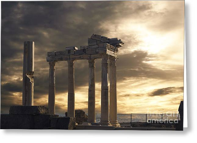 Building Pyrography Greeting Cards - Temple of Apollo in Side Greeting Card by Jelena Jovanovic