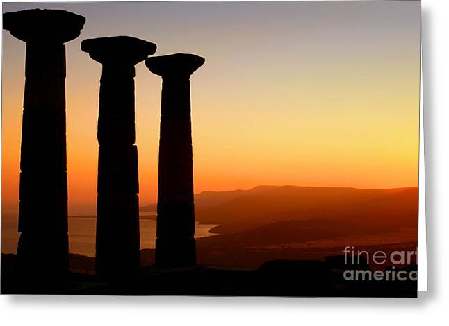Historic Architecture Greeting Cards - Temple Of Athena Silhouette At Sunset Greeting Card by Leyla Ismet