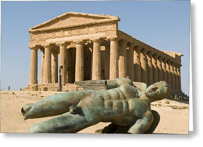 Temple of Concord and Icarus fallen Greeting Card by Robert Down