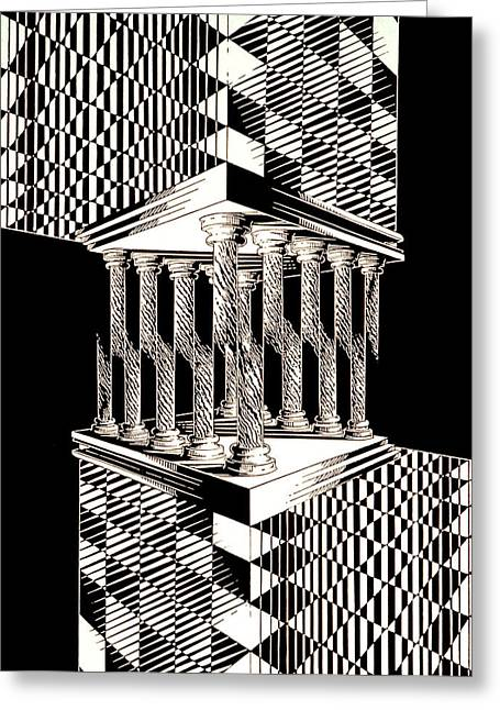 Abstract Digital Reliefs Greeting Cards - Temple of Enigma Greeting Card by Sean OConnor