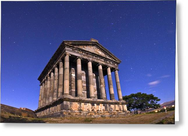 Moonlit Night Greeting Cards - Temple of Garni at night, Armenia Greeting Card by Science Photo Library