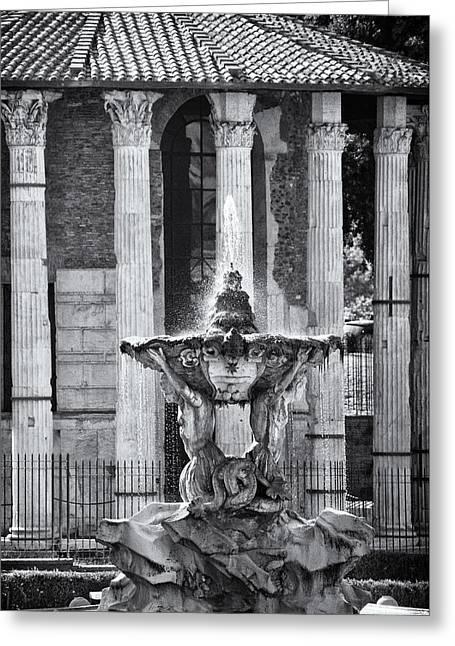 Mancave Photos Greeting Cards - Temple of Hercules and Fountain of the Tritons in Rome Greeting Card by Melany Sarafis