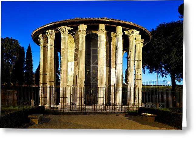 Rounded Circular Greeting Cards - Temple of Hercules Victor Greeting Card by Fabrizio Troiani
