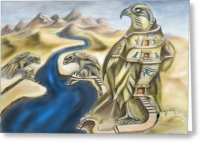 Horus Greeting Cards - TEMPLE OF HORUS three of three Greeting Card by Michael Cook
