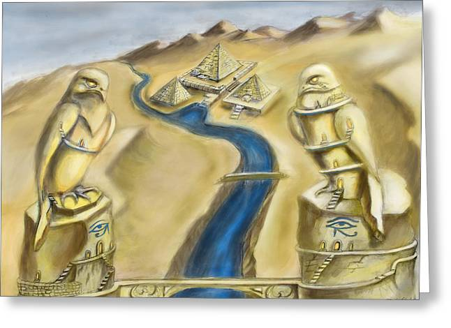 Horus Greeting Cards - TEMPLE OF HORUS two out of three Greeting Card by Michael Cook