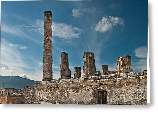 Archeological Greeting Cards - Temple of Jupiter Greeting Card by Marion Galt
