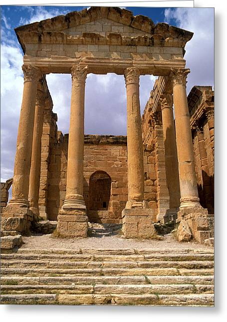 Tunisia Greeting Cards - Temple Of Jupiter, Sbeitla, Tunisia Photo Greeting Card by .