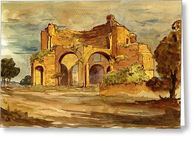 Ruins Greeting Cards - Temple of Minerva Rome Greeting Card by Juan  Bosco